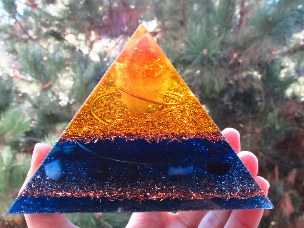 Yellow Blue Orgone Pyramid